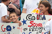 US fans. The U.S. Women's National Team defeated Canada 1-0 in a friendly match at Marina Auto Stadium in Rochester, NY on July 19, 2009. Abby Wambach of the USWNT scored her 100th career goal in the second half..