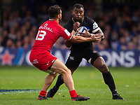 Bath Rugby's Semesa Rokoduguni is tackled by Toulouse Rugby's Sofiane Guitoune<br /> <br /> Photographer Bob Bradford/CameraSport<br /> <br /> European Rugby Champions Cup - Bath Rugby v Toulouse - Saturday 13th October 2018 - The Recreation Ground - Bath<br /> <br /> World Copyright © 2018 CameraSport. All rights reserved. 43 Linden Ave. Countesthorpe. Leicester. England. LE8 5PG - Tel: +44 (0) 116 277 4147 - admin@camerasport.com - www.camerasport.com