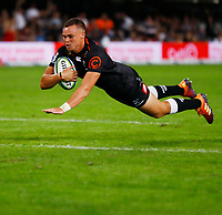 Curwin Bosch of the Cell C Sharks going over for a try during the Super rugby match between the Cell C Sharks and the Emirates Lions at Jonsson Kings Park Stadium in Durban, South Africa 30 March 2019. Photo: Steve Haag / stevehaagsports.com