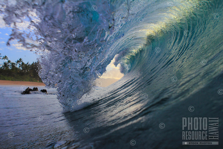 Evening light shines through a breaking wave at Rockpiles on the North Shore of O'ahu.