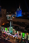 The Pantages Theater, Walk of Fame and Capitol Records in Hollywood at night