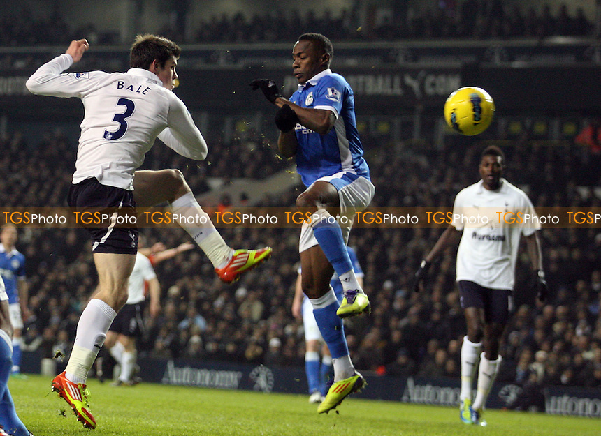 Gareth Bale of Tottenham scores the opening goal -  Tottenham vs Wigan - at the White Hart Lane Stadium - 31/01/12 - MANDATORY CREDIT: Dave Simpson/TGSPHOTO - Self billing applies where appropriate - 0845 094 6026 - contact@tgsphoto.co.uk - NO UNPAID USE.