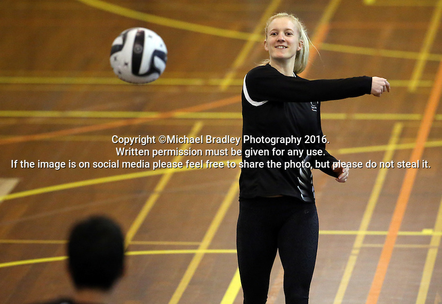 16.09.2016 Silver Ferns Shannon Francois in action during traning ahead of the last Taini Jamison netball match between the Silver Ferns and Jamaica to be played in Rotorua. Mandatory Photo Credit ©Michael Bradley.