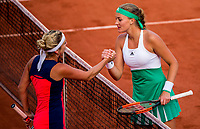 TIMEA BACSINSZKY (SUI), KRISTINA MLADENOVIC (FRA)<br /> <br /> TENNIS - FRENCH OPEN - ROLAND GARROS - ATP - WTA - ITF - GRAND SLAM - CHAMPIONSHIPS - PARIS - FRANCE - 2017  <br /> <br /> <br /> <br /> &copy; TENNIS PHOTO NETWORK