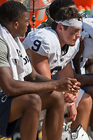 Penn State quarterback Trace McSorley sits on the bench after the interception to seal the loss. The Pitt Panthers defeated the Penn State Nittany Lions 42-39 at Heinz Field, Pittsburgh, Pennsylvania on September 10, 2016.