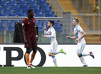 Napoli&rsquo;s Dries Mertens, center, celebrates with his teammate Marko Rog, right, as Roma&rsquo;s Antonio Ruediger reacts after scoring during the Serie A soccer match between Roma and Napoli at the Olympic stadium, 4 March 2017.<br /> UPDATE IMAGES PRESS/Isabella Bonotto