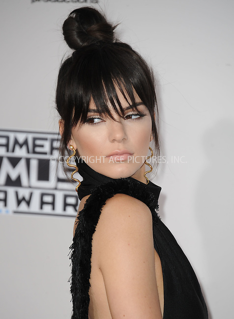 WWW.ACEPIXS.COM<br /> <br /> November 22 2015, LA<br /> <br /> Kendall Jenner arriving at the 2015 American Music Awards at the Microsoft Theater on November 22, 2015 in Los Angeles, California.<br /> <br /> By Line: Peter West/ACE Pictures<br /> <br /> <br /> ACE Pictures, Inc.<br /> tel: 646 769 0430<br /> Email: info@acepixs.com<br /> www.acepixs.com