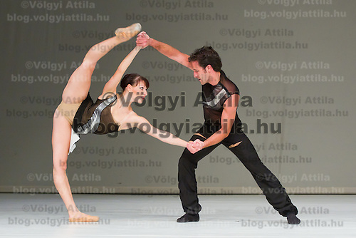 Dress rehearsal of the ballet piece Attack choreographed by Levente Bajari performed by the members of the Art Ballet Szazhalombatta Gabor Anosi and Reka Sari as part of the introductory show of the company called Body Song in Szazhalombatta, Hungary on October 26, 2011. ATTILA VOLGYI