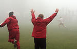 Matt Potter, Washington State University Head Women's Soccer Coach, celebrates after his Cougars beat Arizona State in double overtime in the fog at the Lower Soccer Field in their Pac-10 conference match in Pullman, Washington, on November 9, 2008.  The Cougars needed a victory for a chance at an NCAA bid and they finally prevailed, 1-0, on a dramatic goal by Elysse Van Leer in the second overtime.