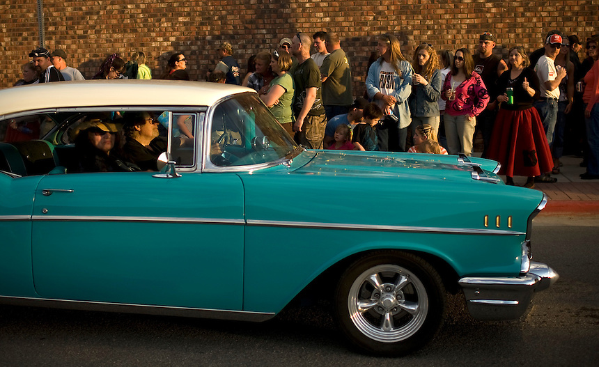 Some cars elicited a thumbs up from 1950's inspired parade-goers during the Friday evening parade and 25th annual celebration of summer arriving in Sandpoint, ID. .. (©Matt Mills McKnight/2010)