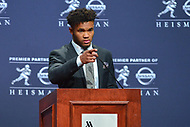 New York, NY - December 8, 2018:  University of Oklahoma quarterback Kyler Murray speaks to the media after winning the Heisman Trophy Award at the New York Marriott hotel December 8, 2018. Murray threw for 4,054 yards and 40 touchdowns, and amassed another 892 yards and 11 scores on the ground for the Sooners.  (Photo by Don Baxter/Media Images International)