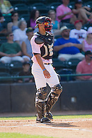 Hickory Crawdads catcher Kevin Torres (35) on defense against the Augusta GreenJackets at L.P. Frans Stadium on May 11, 2014 in Hickory, North Carolina.  The GreenJackets defeated the Crawdads 9-4.  (Brian Westerholt/Four Seam Images)