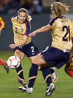 US WNT defender Heather Mitts (2) attempts to clear a ball. The US Women defeated China 1-0 at Home Depot Center stadium in Carson, California on Saturday December 13, 2008. Photo by Michael Janosz