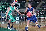 North Texas Mean Green guard Chris Jones (5) guards Jackson State Tigers guard Christian Williams (13) during the game between the Jackson State Tigers and the North Texas Mean Green at the Super Pit arena in Denton, Texas. UNT defeats Jackson State 83 to 65...
