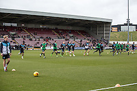 The players warm up during the Sky Bet League 2 match between Northampton Town and Wycombe Wanderers at Sixfields Stadium, Northampton, England on the 20th February 2016. Photo by Liam McAvoy.