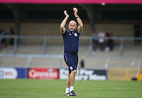 Colchester United Manager John McGreal applauds the supporters following his teams victory during the Sky Bet League 2 match between Wycombe Wanderers and Colchester United at Adams Park, High Wycombe, England on 27 August 2016. Photo by Andy Rowland.