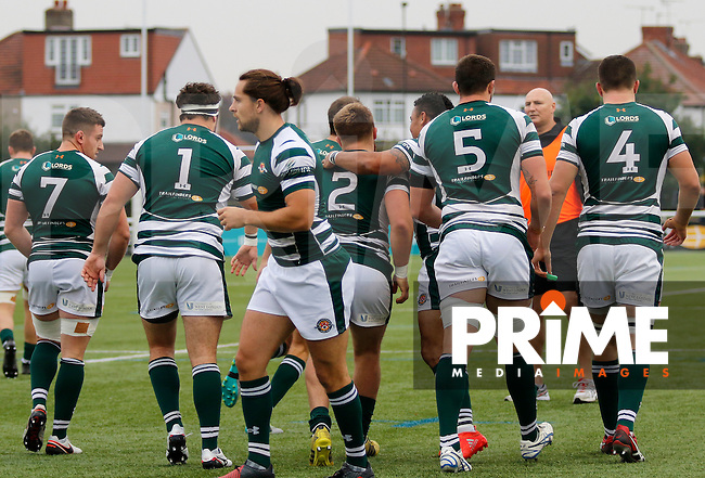 Ealing Trailfinders RFC celebrate opening the scoring during the Greene King IPA Championship match between Ealing Trailfinders and Bedford Blues at Castle Bar , West Ealing , England  on 29 October 2016. Photo by Carlton Myrie / PRiME Media