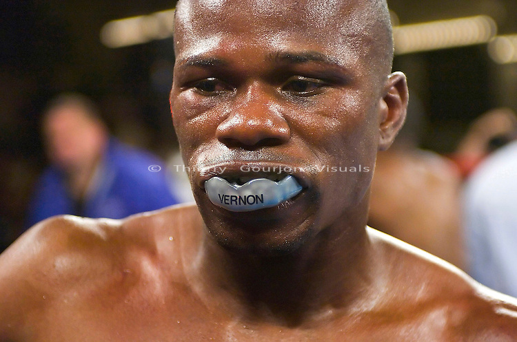 """Vernon Forest   in his corner after his 10 rounds Junior Middleweight Fight against Ike """"Bazooka"""" Quartey at MSG in New York City on 08.05.06. Forest won by Unanimous Decision."""