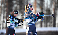 14th March 2020; Kontiolahti, Finland;  Second placed Selina Gasparin of Switzerland and third placed Lisa Vittozzi of Italy compete during for womens 10 km Pursuit competition at the IBU Biathlon World Cup