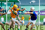 Robert Collins Kilmoyley in action against Shane Conway Michael Conway and Ricky Heffernan Lixnaw in the Kerry County Senior Hurling championship Final at Austin Stack Park on Sunday.