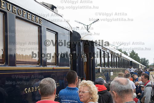 People visit cars of the Venice Simplon Orient Express open for the audience at the Hungarian Railway Museum in Budapest, Hungary on Aug. 26, 2018. ATTILA VOLGYI
