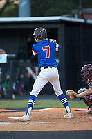 Dawson Salter (7) of Mooresville Post 66 at bat against Kannapolis Post 115 during an American Legion baseball game at Northwest Cabarrus High School on May 30, 2019 in Concord, North Carolina. Mooresville Post 66 defeated Kannapolis Post 115 4-3. (Brian Westerholt/Four Seam Images)