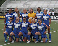 Boston Breakers starting 11. In a National Women's Soccer League Elite (NWSL) match, Sky Blue FC (white) defeated the Boston Breakers (blue), 3-2, at Dilboy Stadium on June 16, 2013.