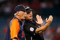 Detroit Tigers Manager Jim Leyland #10 talks with first base umpire Jeff Kellogg during a game against the Los Angeles Angels at Angel Stadium on September 7, 2012 in Anaheim, California. Los Angeles defeated Detroit 3-2. (Larry Goren/Four Seam Images)