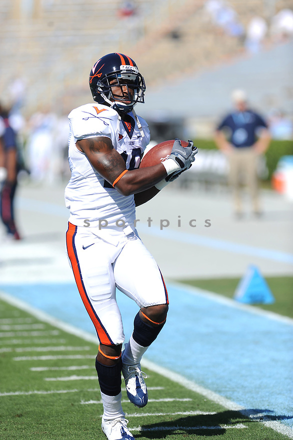 RAS-I DOWLING, of the Virginia Cavaliers in action during the Cavaliers  game against the North Carolina Tarheels on October 3, 2009 in Chapel Hill, NC. Virginia won 16 - 3..