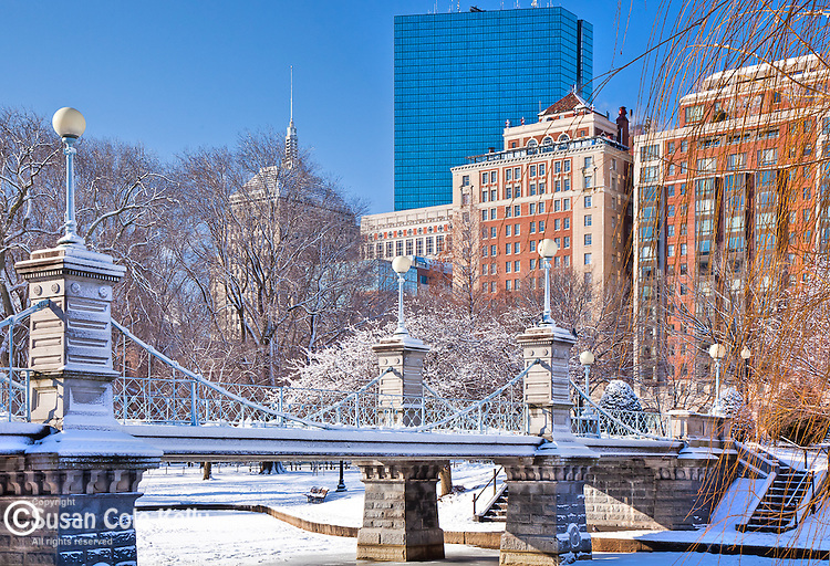 The Back Bay skyline and the Victorian Bridge in the Boston Public Garden, Boston, MA, USA