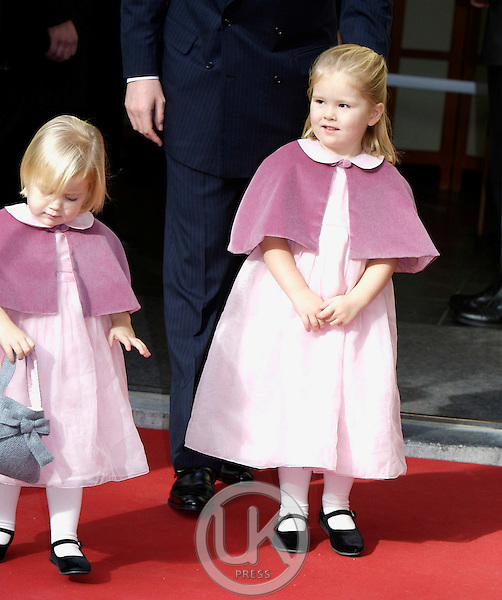 Princess Alexia and Princess Catharina Amalia of The Netherlands attend their sister Princess Ariane of The Netherlands Christening at The Kloosterkerk in The Hauge, Holland.