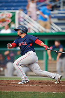Lowell Spinners catcher Alan Marrero (21) at bat during a game against the Batavia Muckdogs on July 16, 2018 at Dwyer Stadium in Batavia, New York.  Lowell defeated Batavia 4-3.  (Mike Janes/Four Seam Images)
