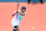 Yasutaka Uchiyama (JPN), <br /> AUGUST 22, 2018 - Tennis : <br /> Men's Singles Round of 16<br /> at Jakabaring Sport Center Tennis Court <br /> during the 2018 Jakarta Palembang Asian Games <br /> in Palembang, Indonesia. <br /> (Photo by Yohei Osada/AFLO SPORT)