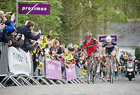 race leaders Greg Van Avermaet (BEL/BMC) and Stijn Vandenbergh (BEL/OPQS) coming up the Kruisberg<br /> <br /> Ronde van Vlaanderen 2014