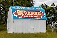 Meramec Caverns barn on Route 66 in Missouri. The painted barns all along Route 66 made the Meramec Caverns a well know Route 66 destination still operating today.