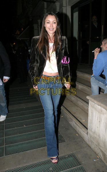 TAMARA MELLON.leaving The Sweetest Swing In Baseball - world premiere and press night, Royal Court Theatre, Sloane Square.31 March 2004.full length, full-length, denim jeans, velvet blazer, jimmy choo shoes.www.capitalpictures.com.sales@capitalpictures.com.© Capital Pictures.