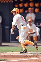Tennessee Volunteers designated hitter Leno Ramirez (8) runs to first during game one of a double header against the UC Irvine Anteaters at Lindsey Nelson Stadium on March 12, 2016 in Knoxville, Tennessee. The Volunteers defeated the Anteaters 14-4. (Tony Farlow/Four Seam Images)