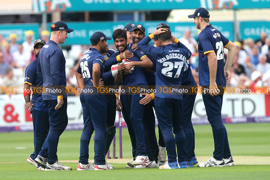 Mohammad Amir of Essex is congratulated by his team mates after taking the wicket of Jason Roy during Essex Eagles vs Surrey, NatWest T20 Blast Cricket at The Cloudfm County Ground on 7th July 2017