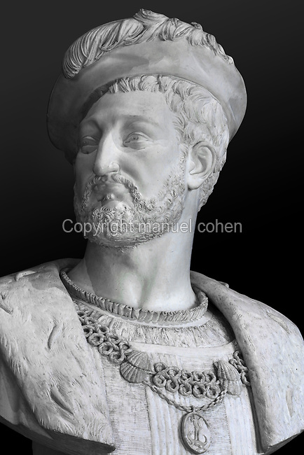 Bust of King Francois I, 1494-1547, made 1850 in plaster by Alfred Jean Baptiste Halou, 1829-91, in the Salle du Roi, or King's Hall, used by Francois I for meals and audiences, on the first floor of the Francois I wing, built early 16th century in Italian Renaissance style, in the Chateau Royal de Blois, built 13th - 17th century in Blois in the Loire Valley, Loir-et-Cher, Centre, France. The bust was acquired 1861 for the Musee des Beaux-Arts de la Ville de Blois, housed 1850-69 in the Francois I wing and since 1869 on the first floor of the Louis XII wing of the chateau. The chateau has 564 rooms and 75 staircases and is listed as a historic monument and UNESCO World Heritage Site. Picture by Manuel Cohen