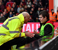 The head of the ball boys has a stern word with the Ball boy who refused to give the ball to Jan Vertonghen<br /> <br /> Bournemouth 1 - 4 Tottenham Hotspur<br /> <br /> Photographer David Horton/CameraSport<br /> <br /> The Premier League - Bournemouth v Tottenham Hotspur - Sunday 11th March 2018 - Vitality Stadium - Bournemouth<br /> <br /> World Copyright &copy; 2018 CameraSport. All rights reserved. 43 Linden Ave. Countesthorpe. Leicester. England. LE8 5PG - Tel: +44 (0) 116 277 4147 - admin@camerasport.com - www.camerasport.com