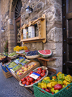 Fresh produce and fruit outside shop on Corso Cavour in Orvieto, Ital