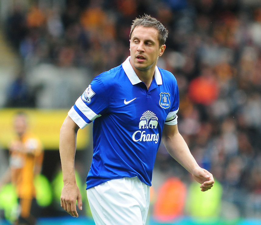Everton's Phil Jagielka<br /> <br /> Photographer Chris Vaughan/CameraSport<br /> <br /> Football - Barclays Premiership - Hull City v Everton - Sunday 11th May 2014 - Kingston Communications Stadium - Hull<br /> <br /> &copy; CameraSport - 43 Linden Ave. Countesthorpe. Leicester. England. LE8 5PG - Tel: +44 (0) 116 277 4147 - admin@camerasport.com - www.camerasport.com