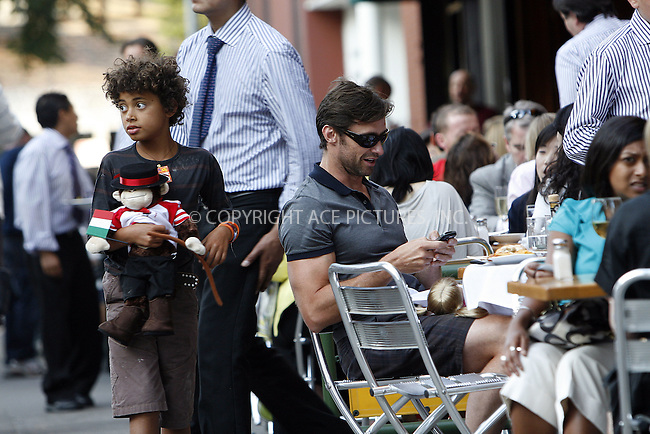 WWW.ACEPIXS.COM . . . . .  ....July 10 2009, New York City....Actor Hugh Jackman, with son Oscar, had lunch with his family at Da Silvano in Soho on July 10 2009 in New York City....Please byline: NANCY RIVERA- ACE PICTURES.... *** ***..Ace Pictures, Inc:  ..tel: (212) 243 8787 or (646) 769 0430..e-mail: info@acepixs.com..web: http://www.acepixs.com