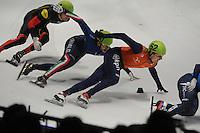 SHORTTRACK: DORDRECHT: Sportboulevard Dordrecht, 24-01-2015, ISU EK Shorttrack, Mathias VOSTÉ (BEL | #1), Yuri CONFORTOLA (ITA | #40), Freek VAN DER WART (NED | #52), ©foto Martin de Jong