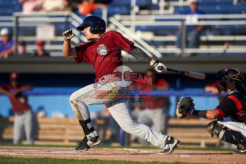 Mahoning Valley Scrappers outfielder David Armendariz (11) at bat during the second game of a doubleheader against the Batavia Muckdogs on July 2, 2015 at Dwyer Stadium in Batavia, New York.  Mahoning Valley defeated Batavia 3-0.  (Mike Janes/Four Seam Images)