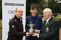 Tom McKibbin winner of the  junior Bridgestone Order of Merit pictured with Colm Conyngham Bridgestone Ireland and Jim McGovern President GUI at the presentations in the GUI National Academy, Maynooth, Kildare, Ireland. 30/11/2019.<br /> Picture Fran Caffrey / Golffile.ie<br /> <br /> All photo usage must carry mandatory copyright credit (© Golffile | Fran Caffrey)