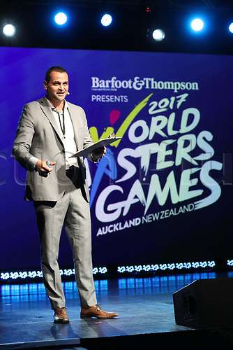 April 30th 2017, Auckland, New Zealand; Closing Ceremony of the World Masters Games; The MC during the closing ceremony of the World Masters Games 2017 held at The Cloud on Auckland's waterfront