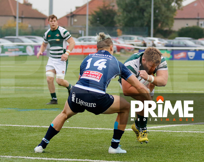 Ealing's Rhys Lawrence attacks the try line during the Greene King IPA Championship match between Ealing Trailfinders and Bedford Blues at Castle Bar , West Ealing , England  on 29 October 2016. Photo by Carlton Myrie / PRiME Media