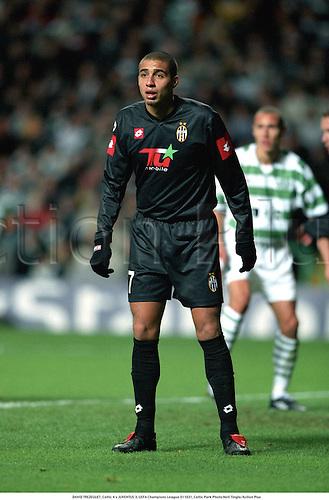 DAVID TREZEGUET, Celtic 4 v JUVENTUS 3, UEFA Champions League 011031, Celtic Park Photo:Neil Tingle/Action Plus<br /><br /><br />2001<br />Soccer<br />Italian League<br />football<br />association<br />club clubs
