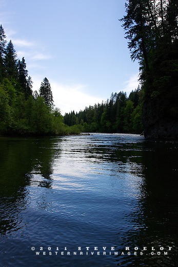 The sky reflects in the Sandy River with deeply shadowed trees.